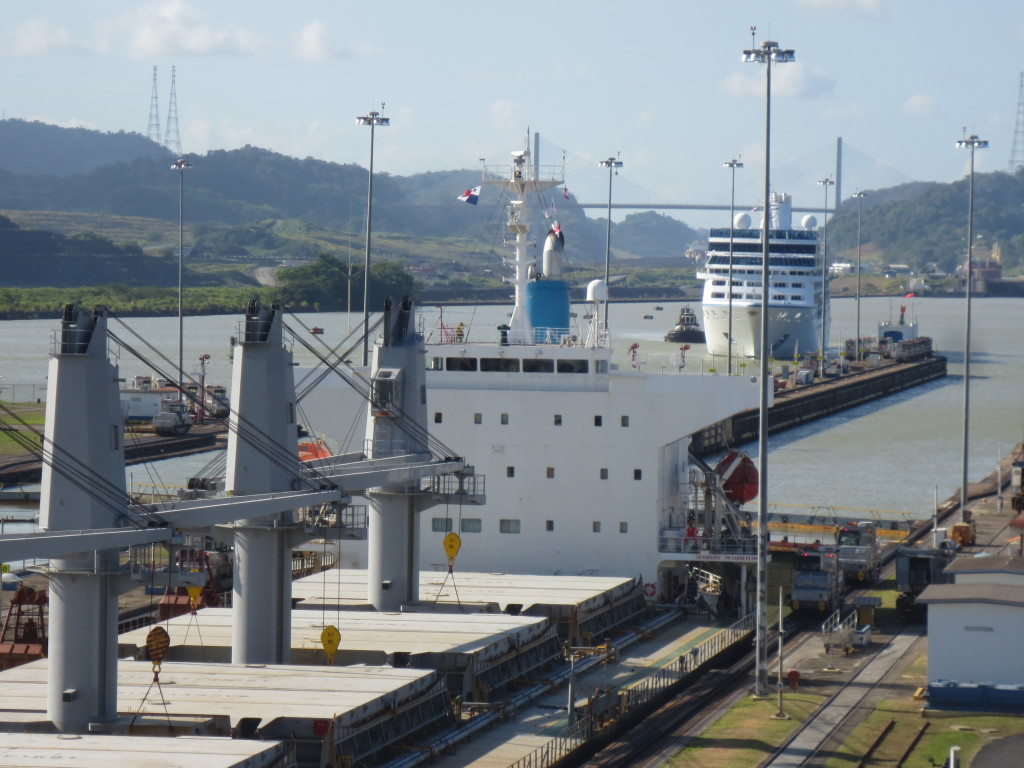 Bulk carrier trailed by passenger ship at Miraflores